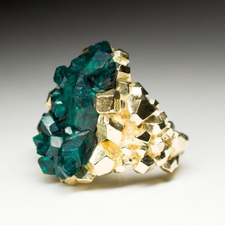 Dioptase Crystal 14K Gold Ring Statement Green Gemstone Unisex Men's Christmas For Sale 1