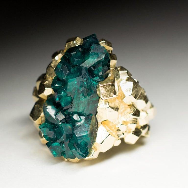 Dioptase Crystal 14K Gold Ring Statement Green Gemstone Unisex Men's Christmas For Sale 2