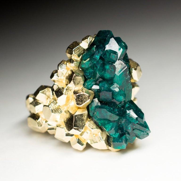 Dioptase Crystal 14K Gold Ring Statement Green Gemstone Unisex Men's Christmas For Sale 3