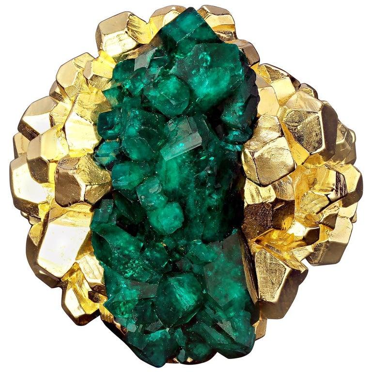 Dioptase Crystal 14K Gold Ring Statement Green Gemstone Unisex Men's Christmas For Sale