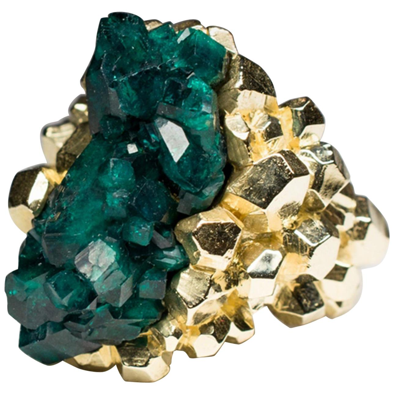 Dioptase Gold Ring Crystal Chunky Christmas Gift Yellow Gold Unisex Men's ring