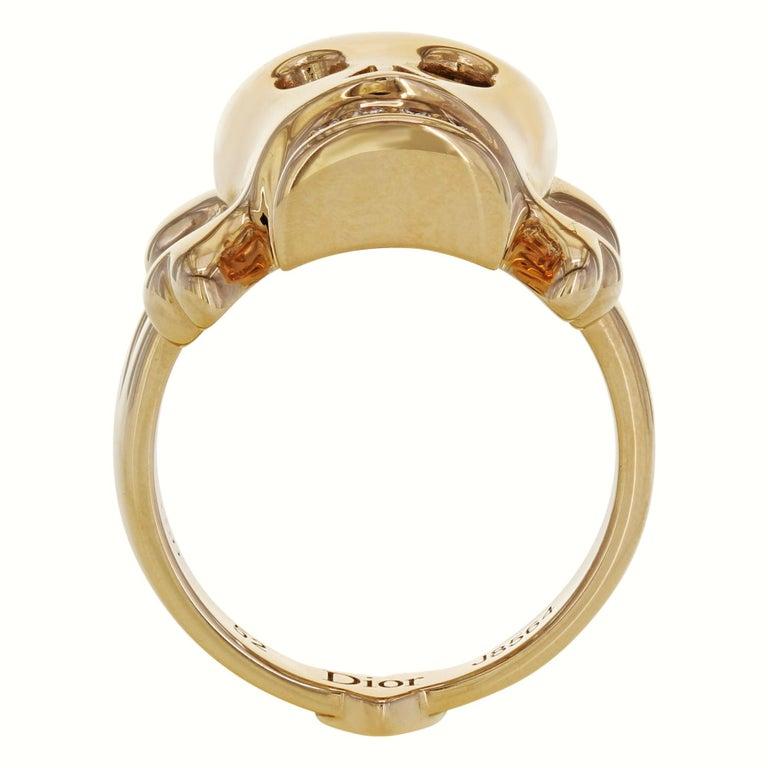 Modern Dior 18 Karat Rose Gold Diamond Skull Ring 0.08 Carat