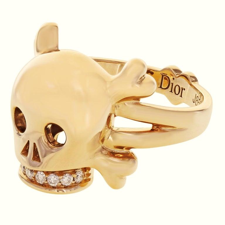 Round Cut Dior 18 Karat Rose Gold Diamond Skull Ring 0.08 Carat