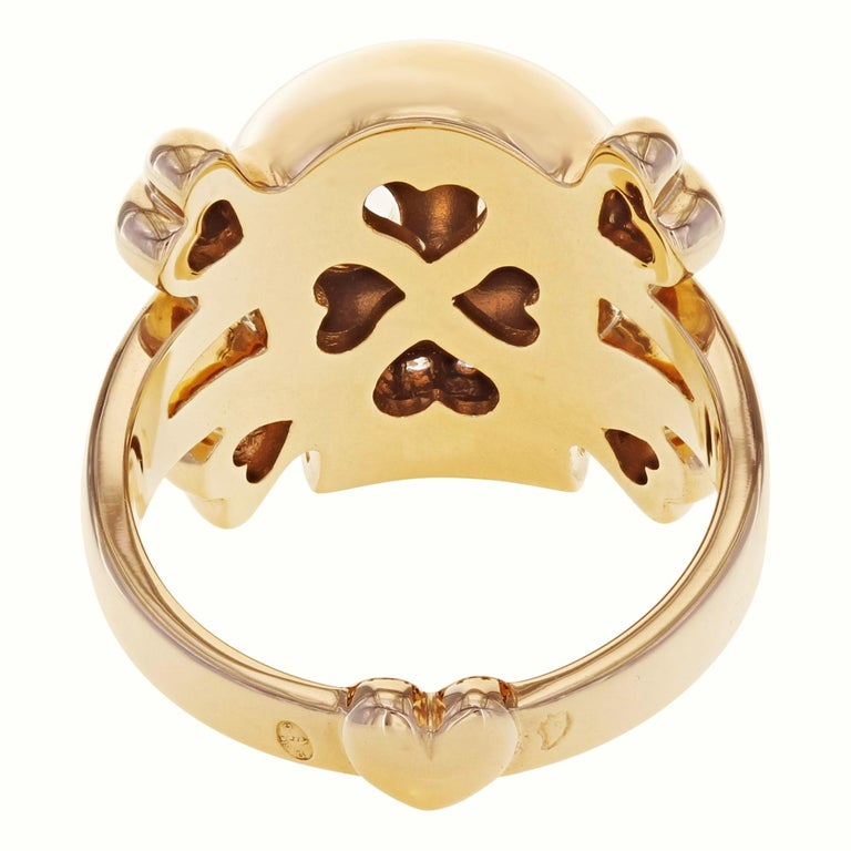 Dior 18 Karat Rose Gold Diamond Skull Ring 0.08 Carat In New Condition In New York, NY