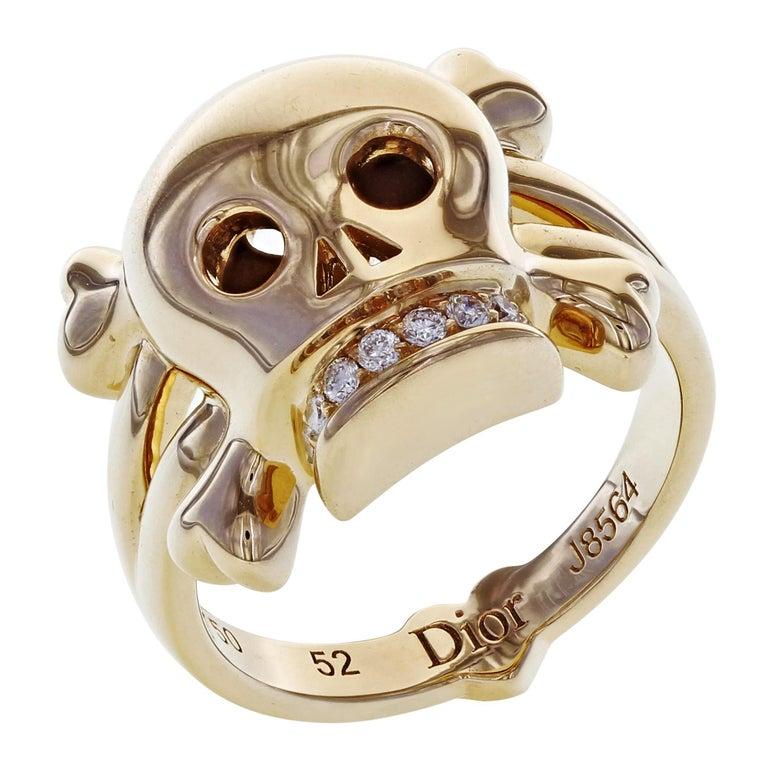 Dior 18 Karat Rose Gold Diamond Skull Ring 0.08 Carat