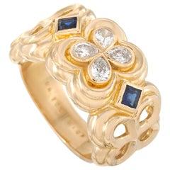 Dior 18 Karat Yellow Gold 0.50 Carat Diamond and Sapphire Ring