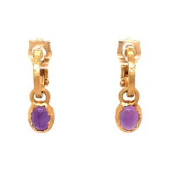 Dior 18 Karat Yellow Gold Cabochon Amethyst Hoops Earrings