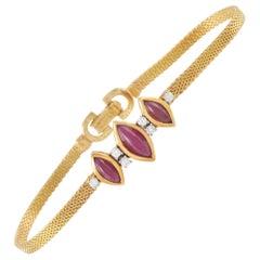 Dior 18 Karat Yellow Gold Diamond and Ruby Bracelet