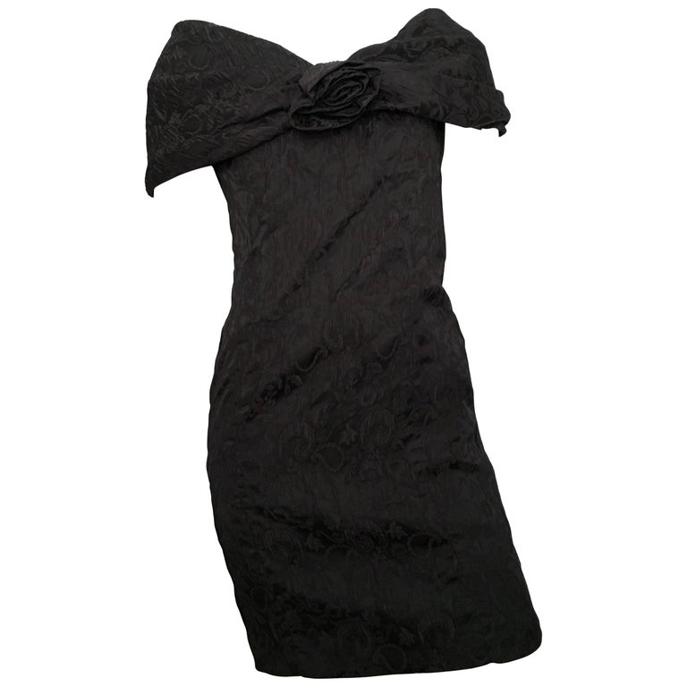 Dior 1980s Black Silk Evening Dress Size 6. For Sale