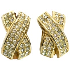 Dior 1980s Vintage Crystal Clip On Statement Earrings.