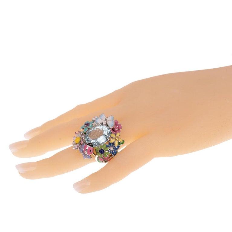 Women's Dior Aquamarine Flower Cocktail Diamond Ring For Sale