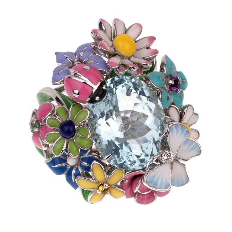 Dior Aquamarine Flower Cocktail Diamond Ring For Sale