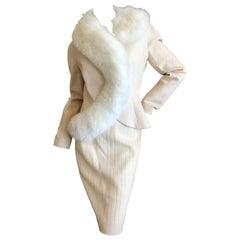 Dior AW '97 by Galliano Vintage Winter White Fox Fur Trim Jacket & Skirt Suit