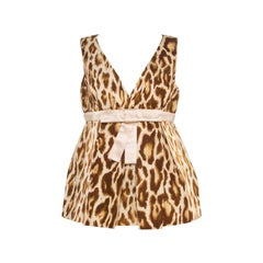 Dior Beige Animal Printed Bow Detail Peplum Wrap Top M