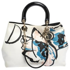 Dior Beige/Black Canvas and Patent Leather Limited Edition Floral Graffiti D Lig