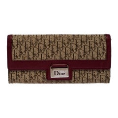 Dior Beige/Burgundy Diorissimo Canvas Flap Continental Wallet