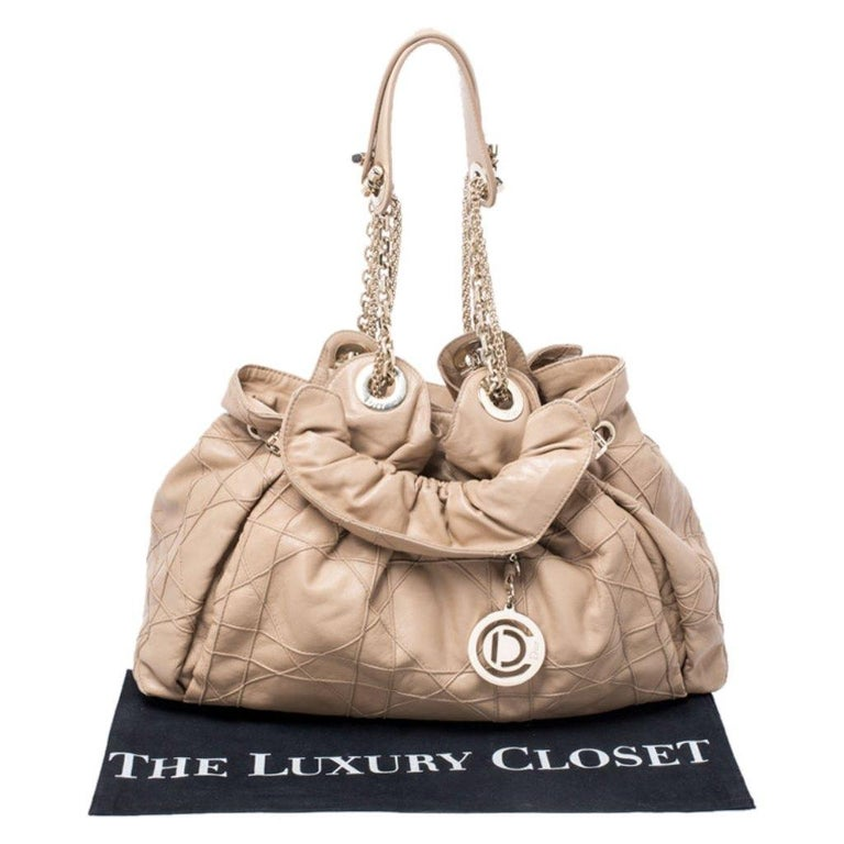 Dior Beige Cannage Leather Le Trente Tote For Sale 8
