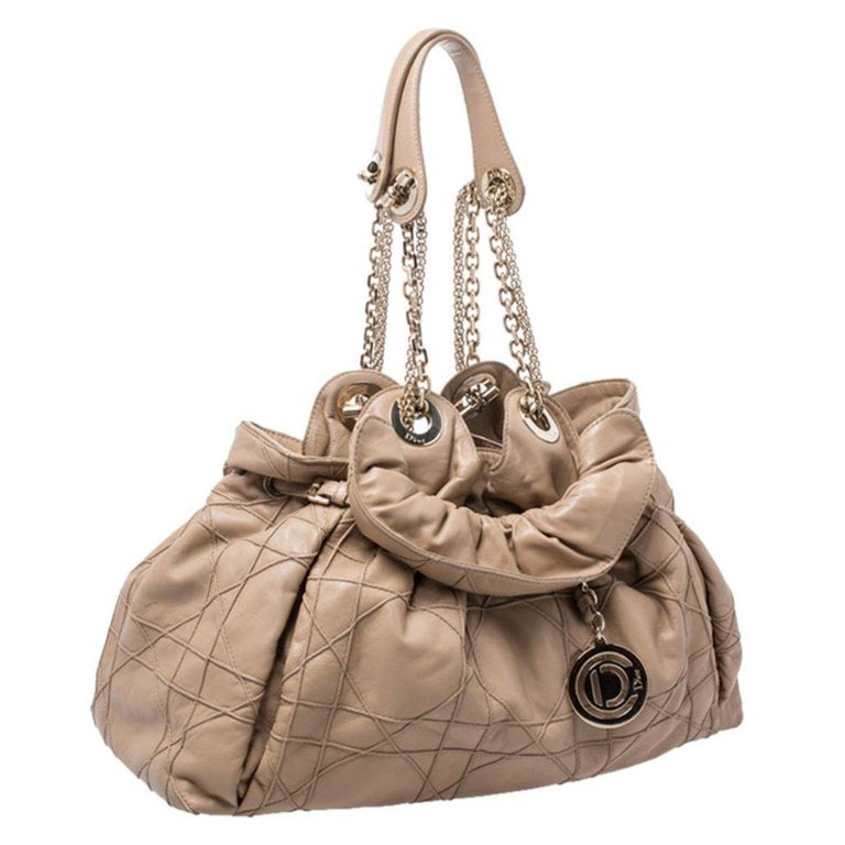 Women's Dior Beige Cannage Leather Le Trente Tote For Sale