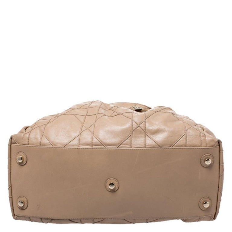 Dior Beige Cannage Leather Le Trente Tote For Sale 1