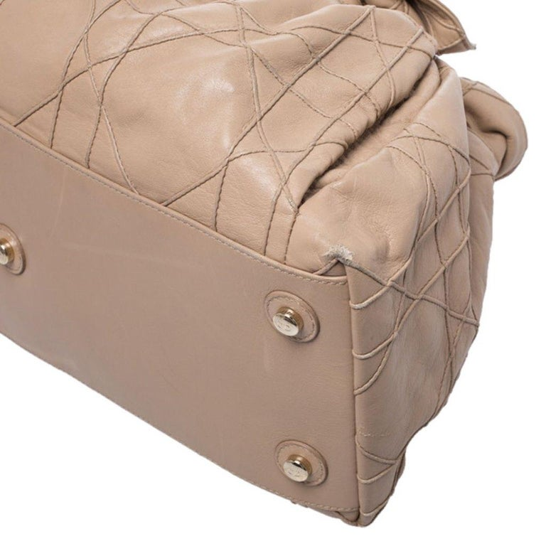 Dior Beige Cannage Leather Le Trente Tote For Sale 2