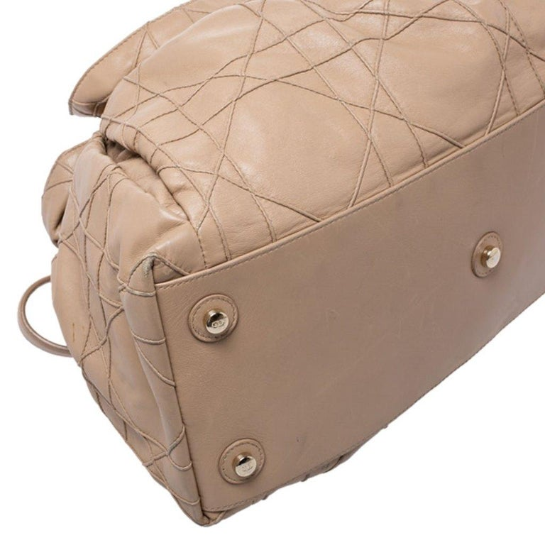 Dior Beige Cannage Leather Le Trente Tote For Sale 3