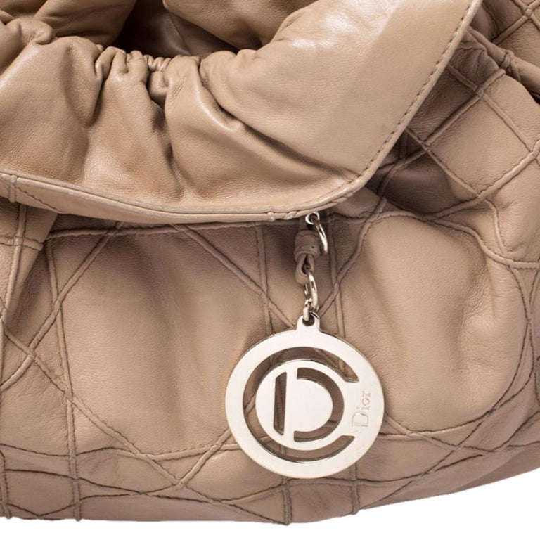 Dior Beige Cannage Leather Le Trente Tote For Sale 5