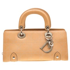Dior Beige Cannage Leather Mini Lady Dior East West Tote