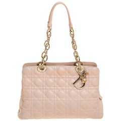 Dior Beige Cannage Leather Soft Lady Dior Tote