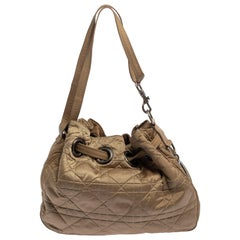 Dior Beige Cannage Nylon and Leather Drawstring Shoulder Bag