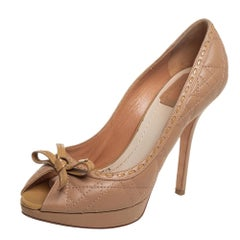 Dior Beige Cannage Patent And Leather Bow Peep Toe Pumps Size 38