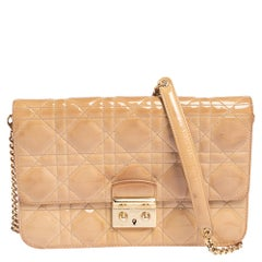 Dior Beige Cannage Patent Leather Miss Dior Promenade Chain Bag