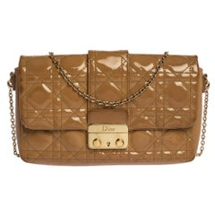 Dior Beige Cannage Patent Leather New Lock Chain Clutch