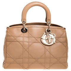 Dior Beige Cannage Quilted Leather Granville Polochon Satchel