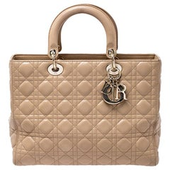 Dior Beige Cannage Quilted Leather Large Lady Dior Tote