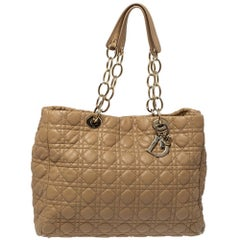 Dior Beige Cannage Quilted Leather Large Soft Shopping Tote
