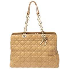 Dior Beige Cannage Soft Leather Large Shopper Tote