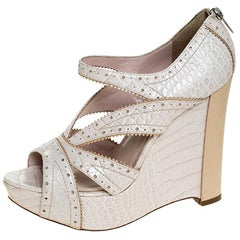 Dior Beige Croc Embossed Brogue Leather Wedge Platform Strappy Sandals Size 38