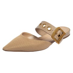 Dior Beige Fabric And Leather D Dior Flat Mules Size 40