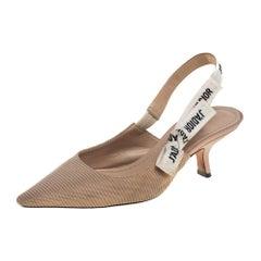 Dior Beige Knit Fabric J'adior Slingback Pumps Size 38.5