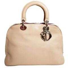 DIOR Beige Lambskin Diorissimo Top Handle Bag