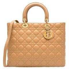 Dior Beige Large Lady Dior Bag 32cm
