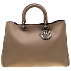 Dior Beige Leather Large Diorissimo Shopper Tote