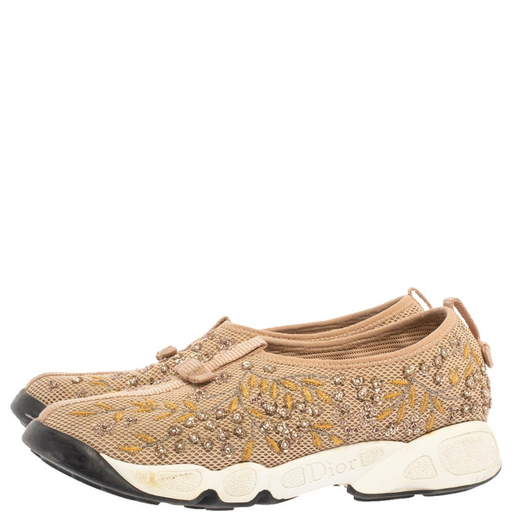 Dior Beige Mesh Fusion Floral Embellished And Embroidered Sneakers Size 38.5 For Sale 1