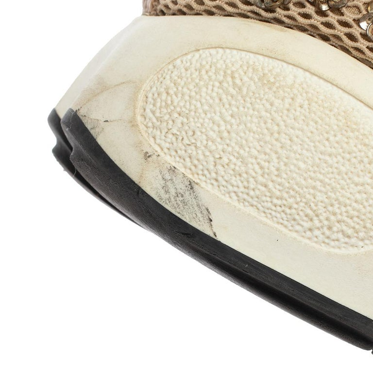 Dior Beige Mesh Fusion Floral Embellished And Embroidered Sneakers Size 38.5 For Sale 2