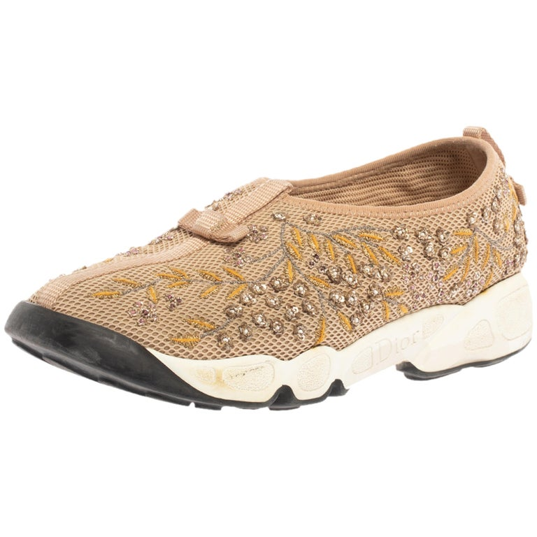Dior Beige Mesh Fusion Floral Embellished And Embroidered Sneakers Size 38.5 For Sale