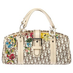 Dior Beige Oblique Floral Embroidered Canvas and Leather Frame Satchel