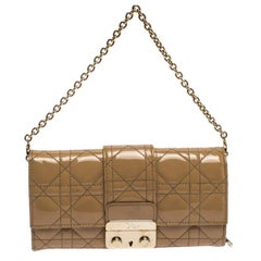 Dior Beige Patent Cannage Leather Miss Dior Chain Wallet