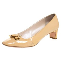 Dior Beige Patent Leather Bow Detail Square Toe Pumps Size 39