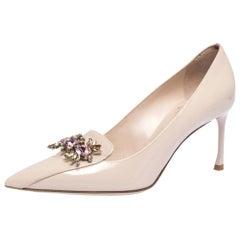 Dior Beige Patent Leather Dianeme Crystal Embellished Pointed Toe Pumps Size 38