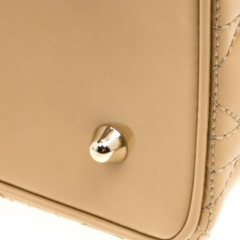 Dior Beige Patent Leather Extra Large Lady Dior Tote For Sale at 1stdibs d131d6fbf15a5